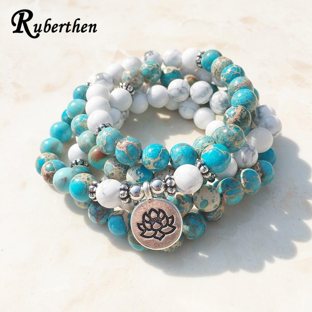 Ruberthen Design De Mode Howlite Naturel Pierre Mala Bracelet 108 Perles Mala Bracelet D'enveloppe ou de Haute Qualité Lotus Bracelet