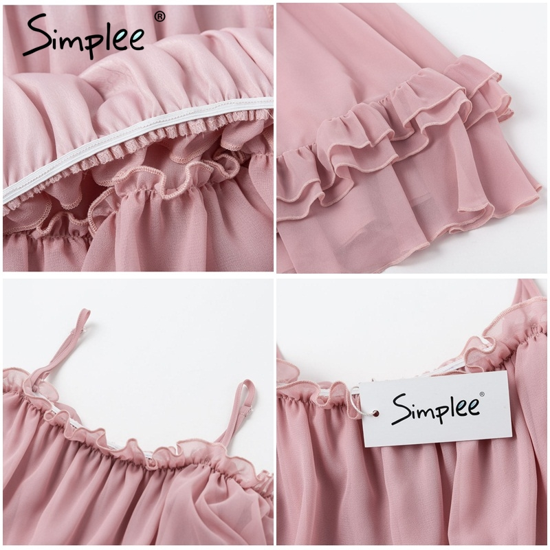 Simplee Elegant ruffle off shoulder women dress Spaghetti strap chiffon summer dresses Casual holiday female pink short sundress 16