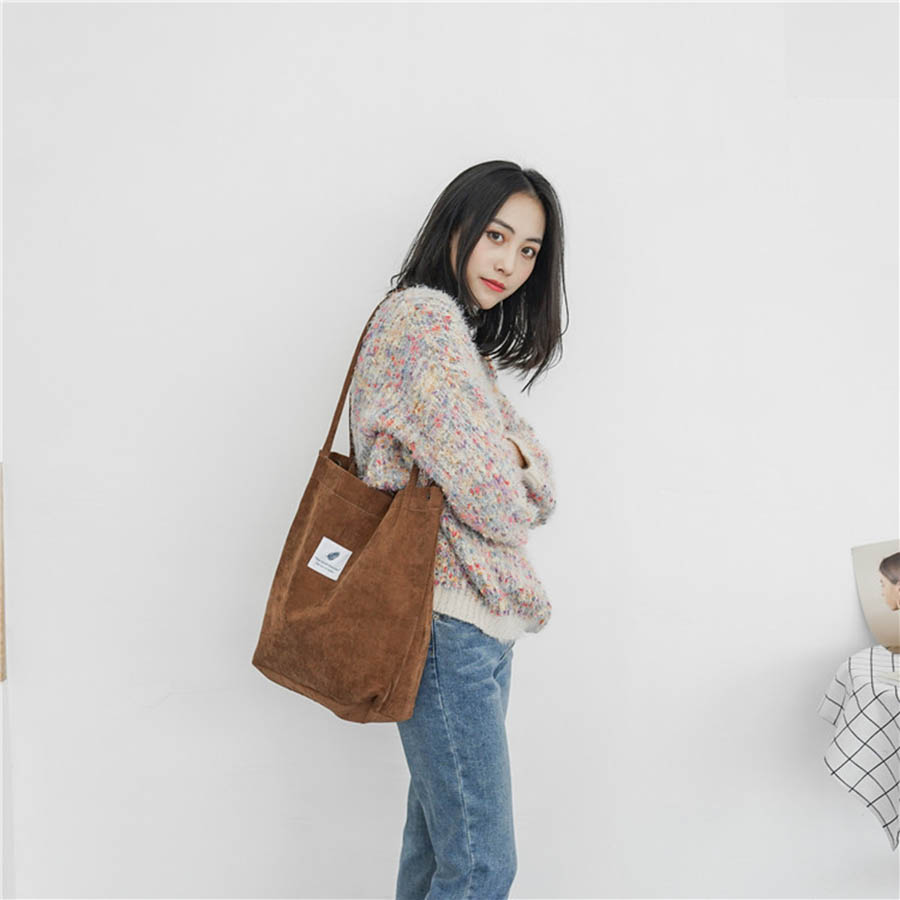 Mara's Dream High Capacity Women Corduroy Tote Ladies Casual Solid Color Shoulder Bag Foldable Reusable Women Shopping Beach Bag 10