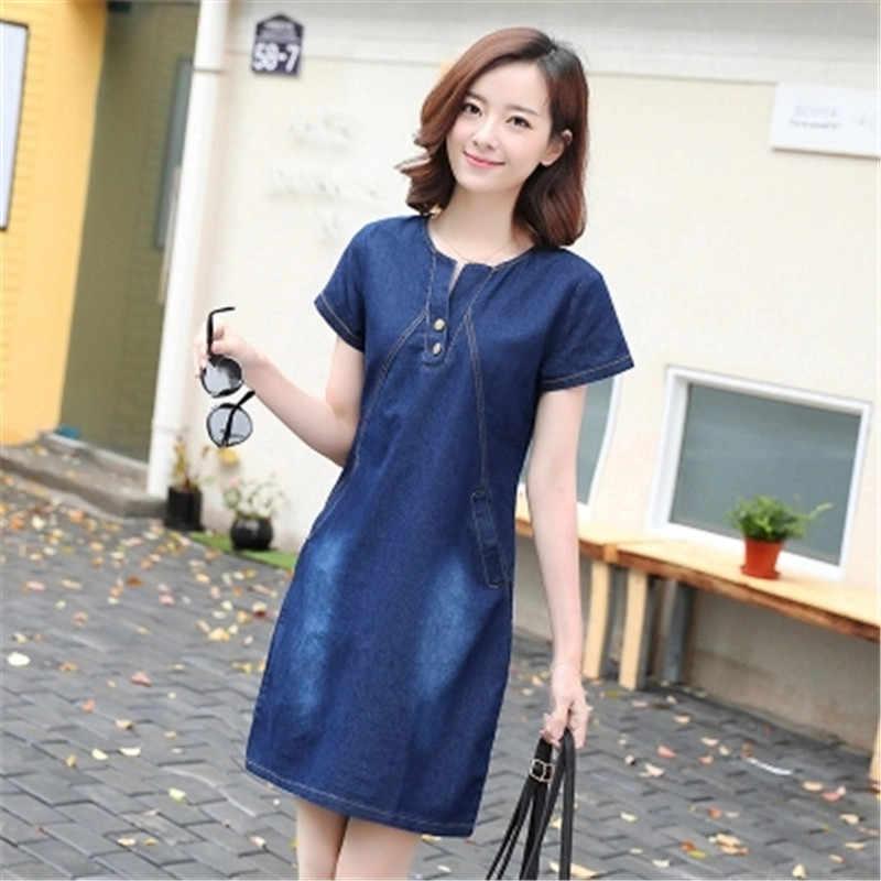 Летнее женское джинсовое платье Модный повседневный узкий короткий рукав джинсовое платье большого размера 3XL джинсовое платье с круглым вырезом Женская одежда AS960