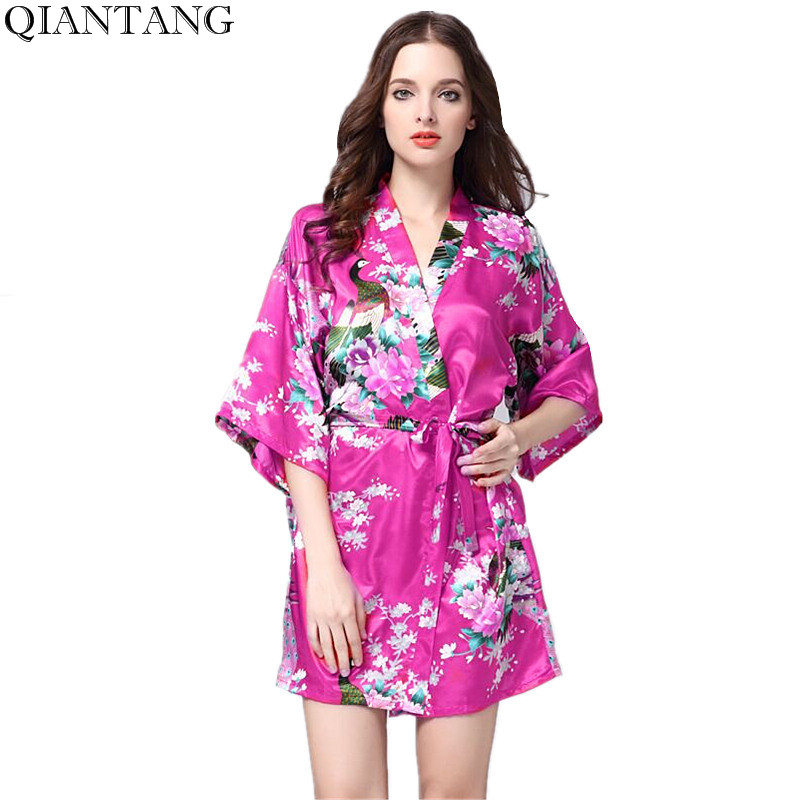 Hot Pink Womens Kimono Mini Robe Bathrobe Sleepwear Faux Silk Bath Gown Nightgown Mujer Pijama Size S M L XL XXL XXXL DY849