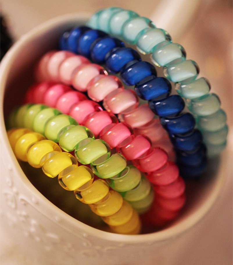 New Women Candy-colored Headdress Hair Accessories Head Flower Hair Ring Hair Rope Telephone Wire 14 Colors