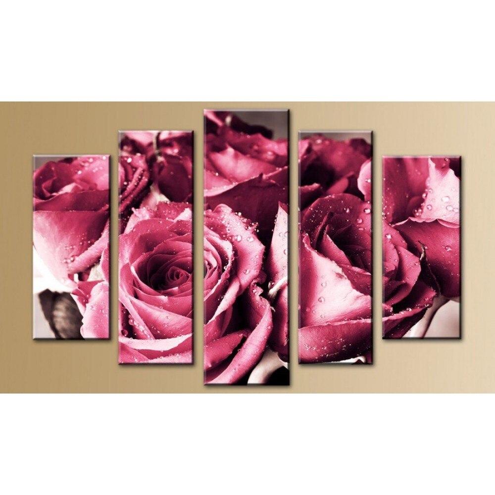 Diamant peinture plein carré perceuse 5 panneaux mur Art Bouquet de Roses 5D Daimond peinture triptyque mosaïque image modulaire