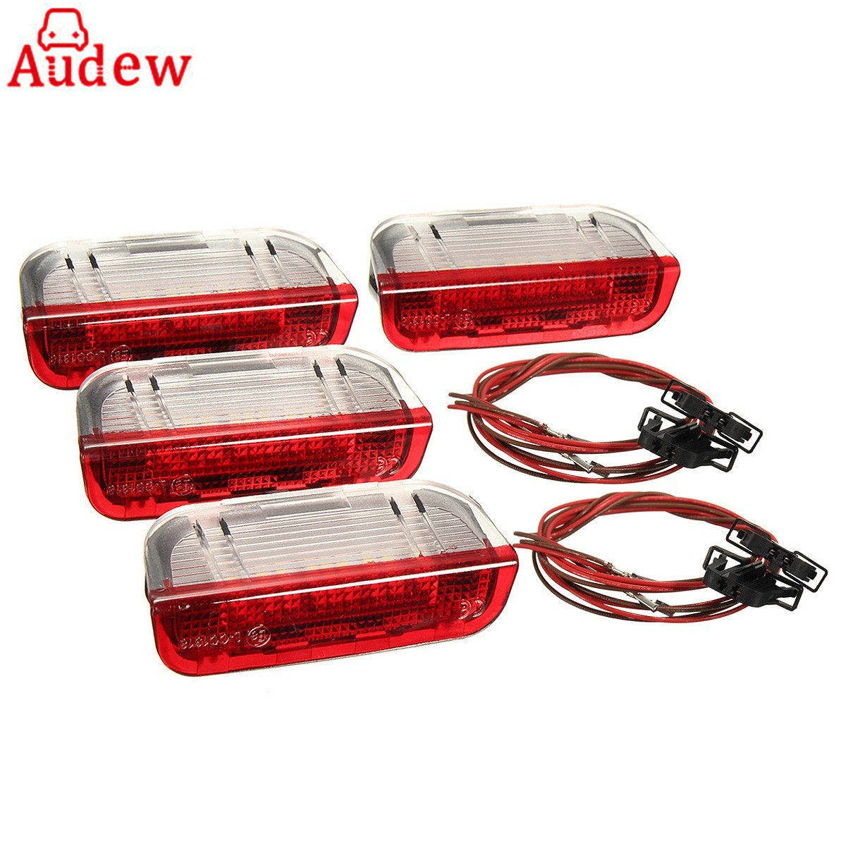 цены 4Pcs Car Door Warning Light With Cable For VW/Volkswagen /Golf 5 Golf 6 Jetta MK5 MK6 CC /Tiguan /Passat B6