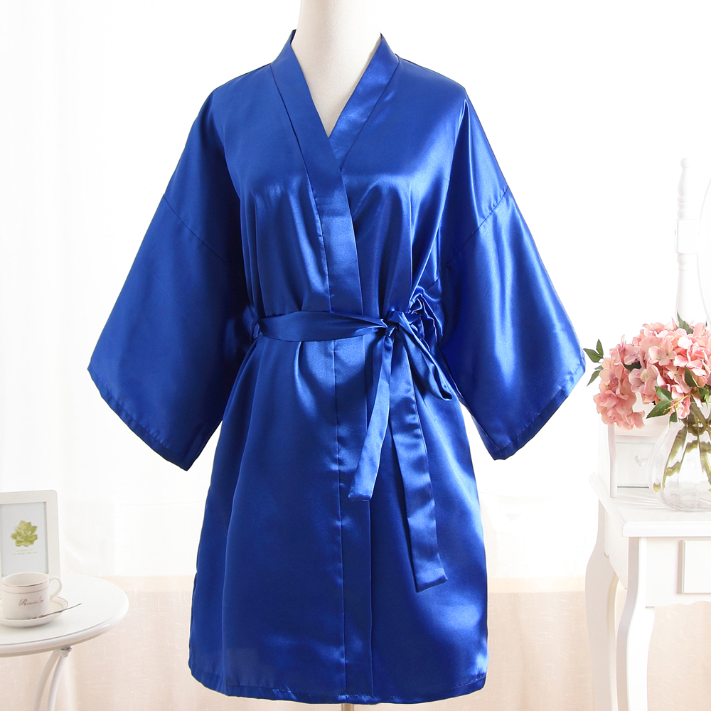 Royal Blue Sexy Brides Wedding Short Robe Dress Hot Sale Womens Satin Nightgown Solid Color Kimono Bath Gown Sleepwear 0702