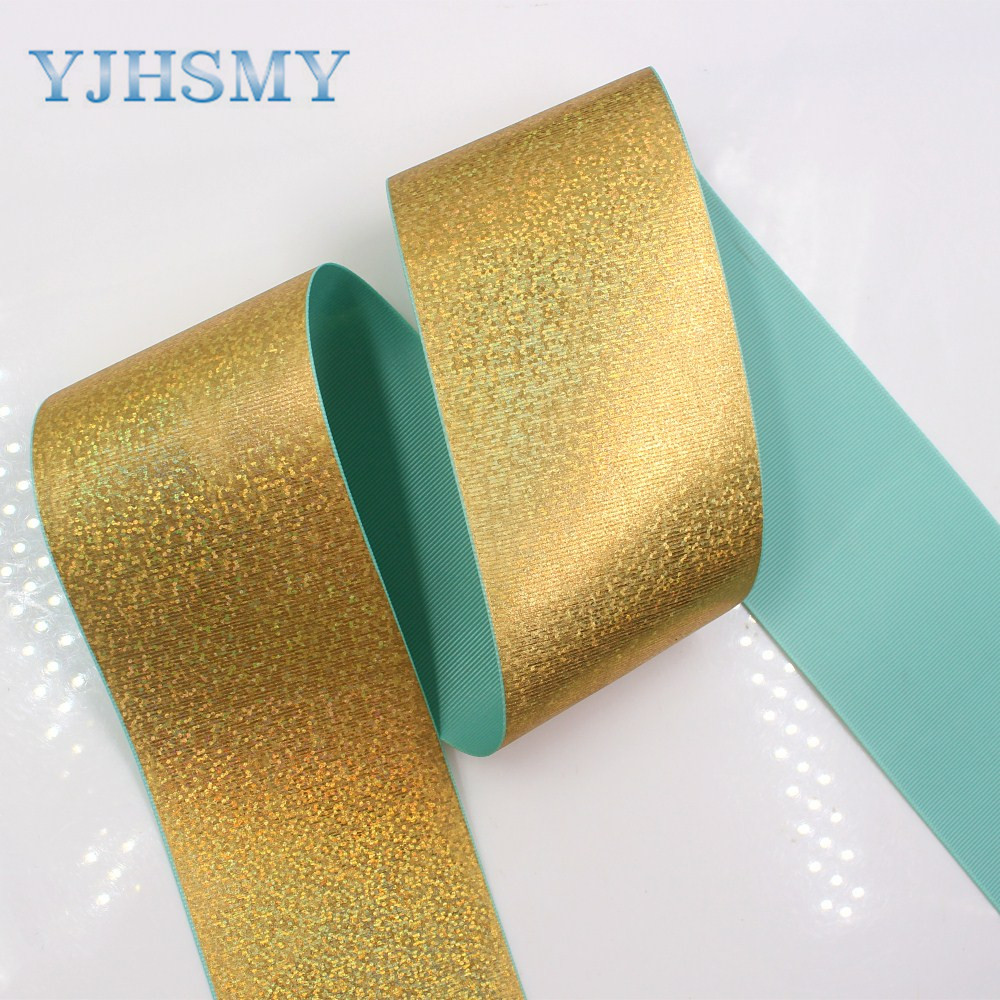 YJHSMY 1710094 3 quot 75mm Solid color series color glitter sequins ribbon 5 yards DIY handmade materials wedding gift wrap in Ribbons from Home amp Garden