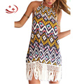 Bohemian Halter Floral Print Fringe Splicing Sleeveless Women Summer Dress Beach Casual Style Mini Birthday Dresses With Tassel