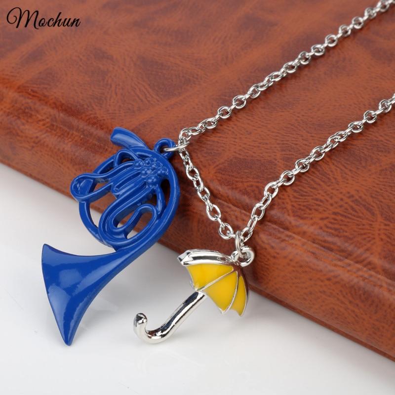 MQCHUN FANTASY UNIVERSE HIMYM Kako sam upoznao vašu majku Žuta kišobran majka Plavi francuski rog privjesak ogrlica Visokokvalitetni poklon