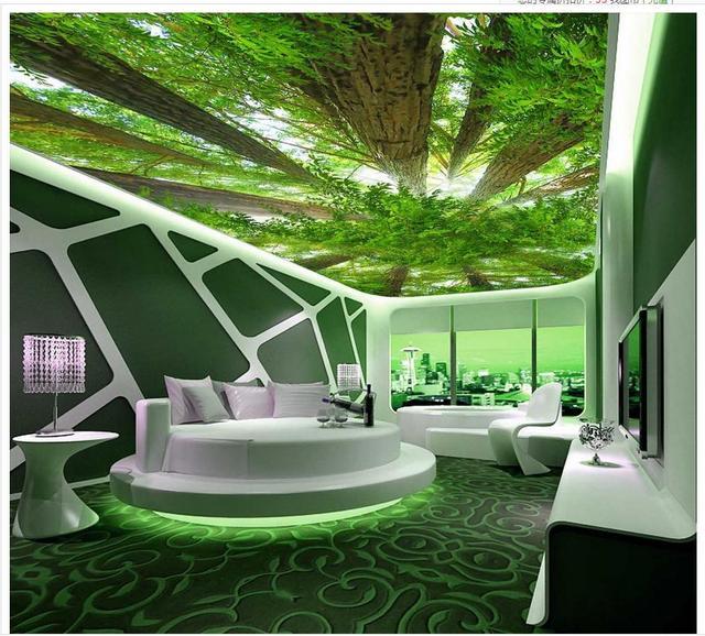 Benutzerdefinierte 3d Fotowand Papier Wald Himmel 3d Tapete Wohnzimmer  Dekoration Decke Wand Dekoration