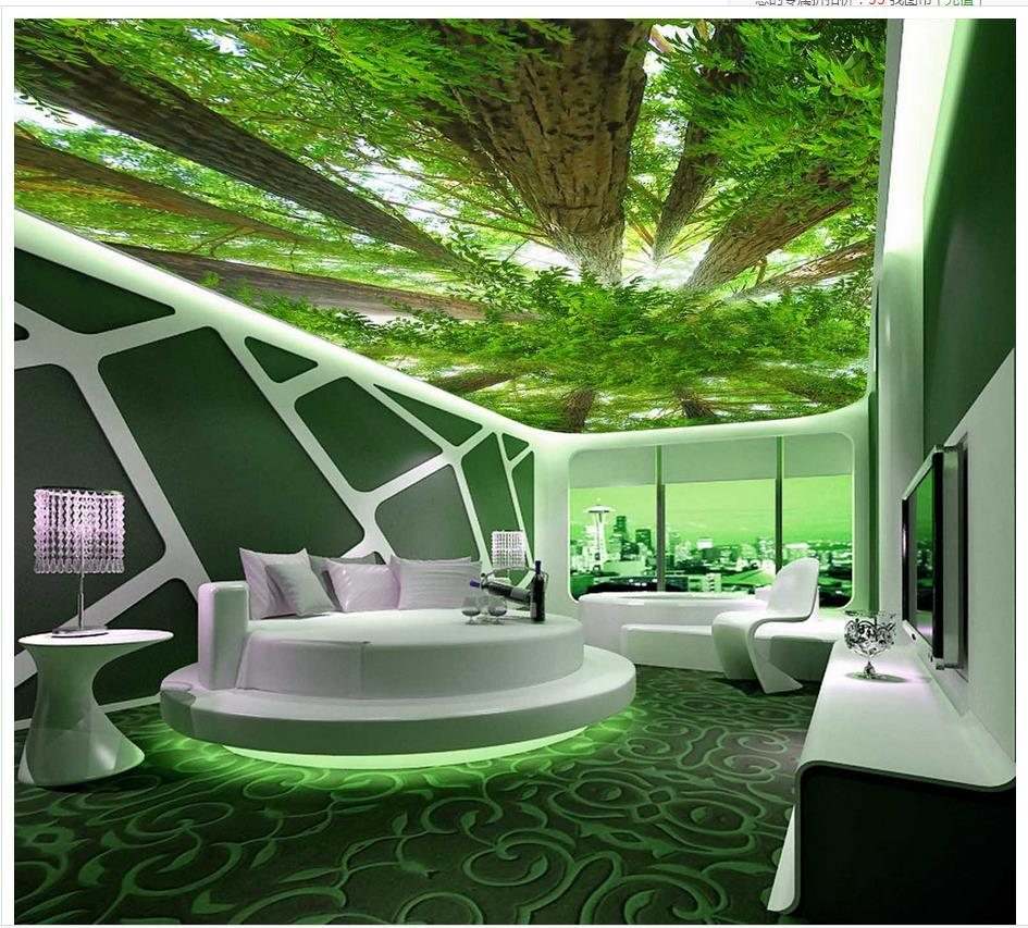 buy custom 3d photo wall paper forest sky ceiling 3d wallpaper living room home. Black Bedroom Furniture Sets. Home Design Ideas