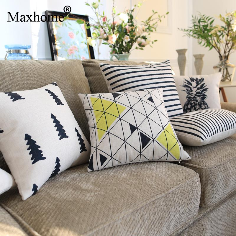 2016 Nordic Art Printed Pillowcase Black And White  Cushion Decorative Pillow Home Decor Throw Pillow Luxury Sofa Cusions 45*45