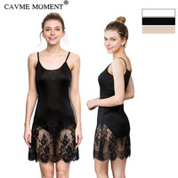 CAVME Summer Lace Spaghetti Strap Silk Nightgown Women Ladies Solid Color Black Nude White Nightwear Sexy Underdress Underskirt
