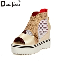 DoraTasia New Large Size 34 43 Cut Outs Crystals Brand Shoes Woman Fashion Platform Wedge High