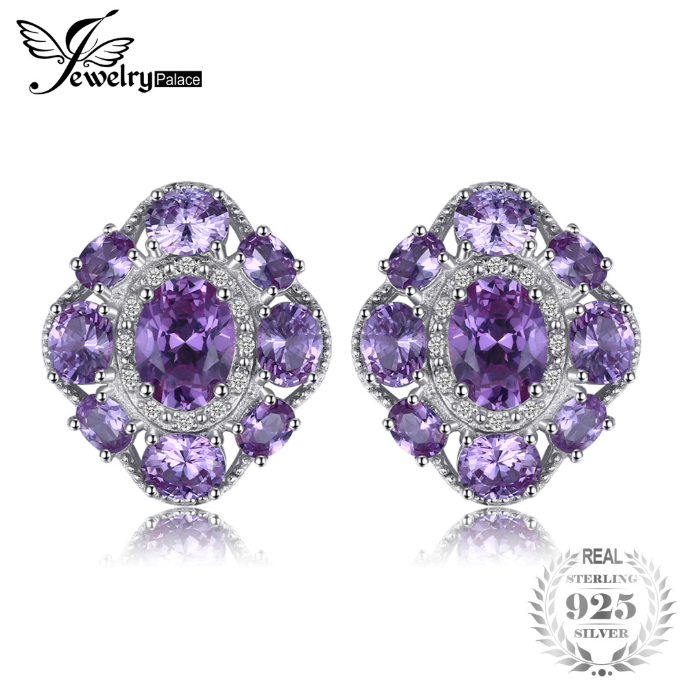 JewelryPalace 4.6ct Created Alexandrite Sapphire Stud Earrings 925 Sterling Silver Fashion Brand Woman Earrings Jewelry jewelrypalace new 1 3ct pear created alexandrite sapphire water drop earrings 925 sterling silver fashion fine jewelry for women