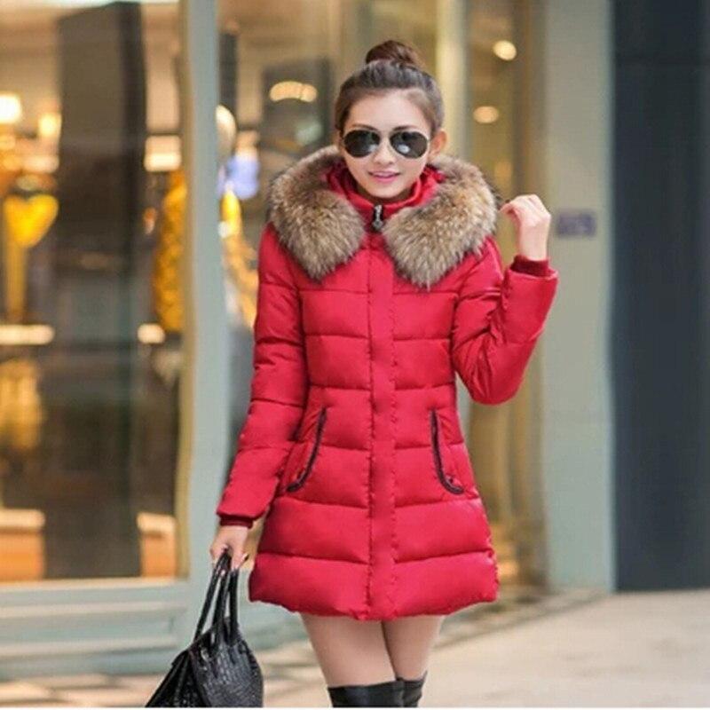 ФОТО 2017 New Winter Coat Women Cotton Down Jacket  Round Collar Slim Thickening Warm Winter Jacket Women Parka manteau femme J071