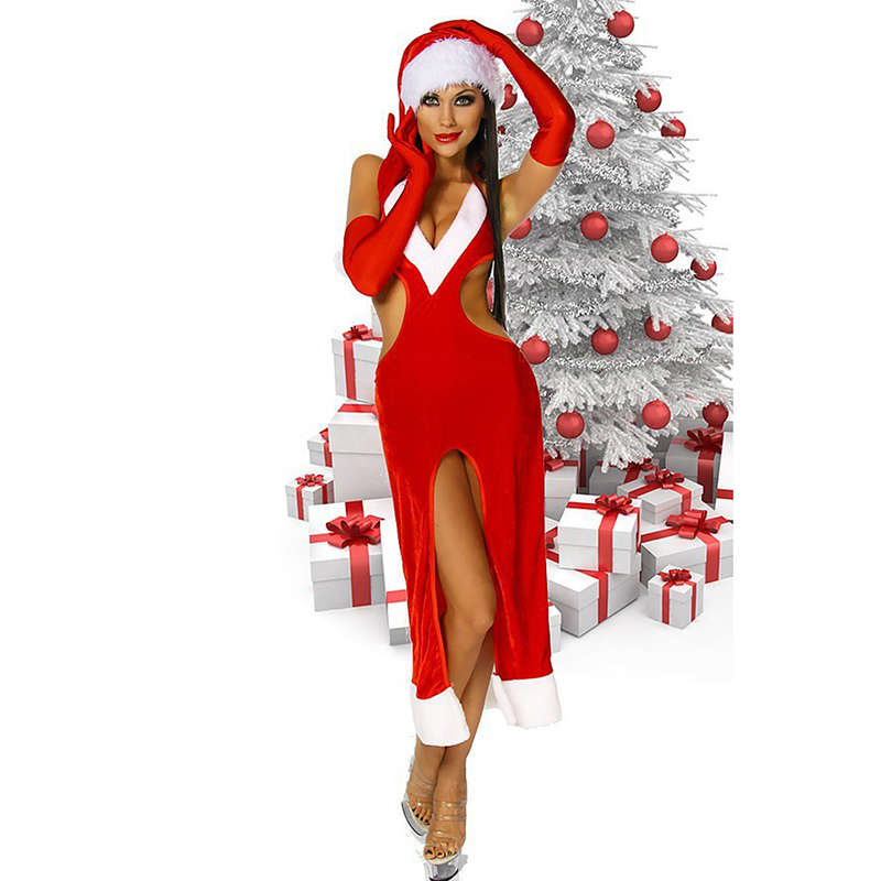 Stylish Women Red Backless Long Dress Sexy Charming Christmas Gown Sweetheart Miss Santa Claus Maxi Dresses With Hat Fancy Dress