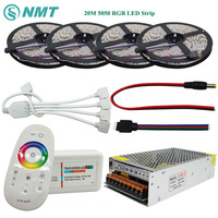 DC12V SMD5050 RGB Led Strip 60led/m Led Light Flexible Tape 5M 10M 15M 20M+RF Touch Remote Controller+Power Adapter Supply