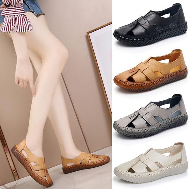 Kadın Sandalet 2019 Yaz Hakiki Deri El Yapımı Bayan Ayakkabı Deri Sandalet Kadınlar Flats Retro Tarzı anne ayakkabısı