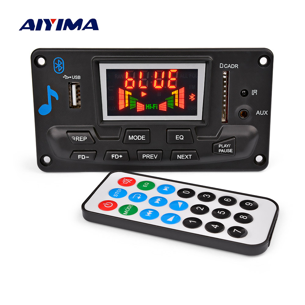 AIYIMA 12V 4 2 Bluetooth MP3 Decoder Audio Module Spectrum Display Lossless APE Decoding Support APP EQ FM AUX Car Accessories