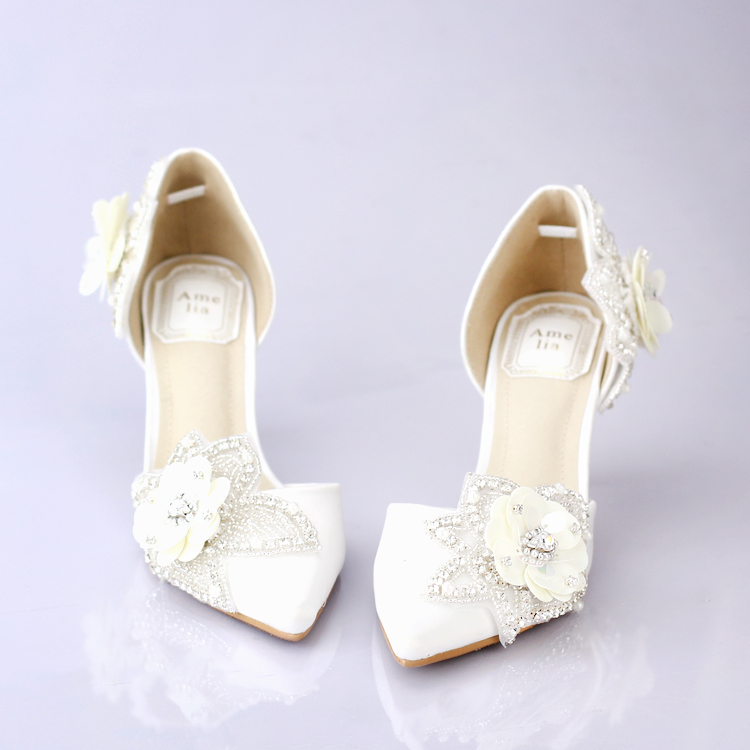 White color satins pointed toe bridal shoes woman rhinestone paillette flower high-heeled wedding shoes girl formal dress pumps