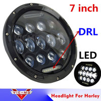 Motorcycle Led Lighting 7 Round Motorcycle LED Headlight 75W H4 White DRL For Davidson Harley Touring