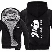 Winter New Reggae Bob Marley Hoodie Men Zipper Fleece Sweatshirts Casual Bob Marley Men Jacket &Coat Sportwear