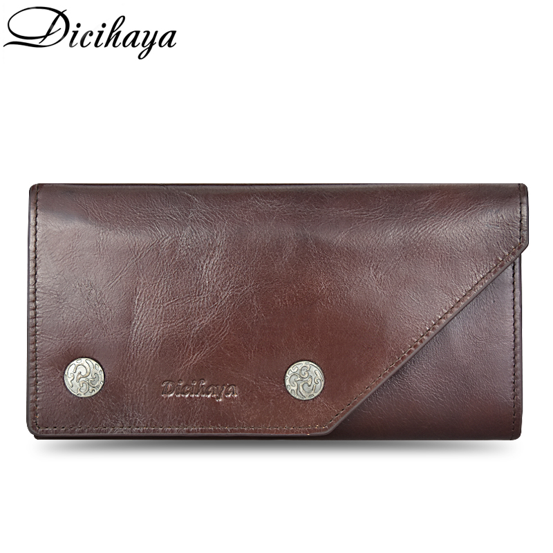 DICIHAYA 100% Guarantee Genuine Leather Men Wallet Soft Purse Zipper Long Credit Card Holder Wallets Cow Leather Casual Purse dicihaya genuine leather men wallet soft purse coin pocket zipper short credit card holder wallets men black leather wallet