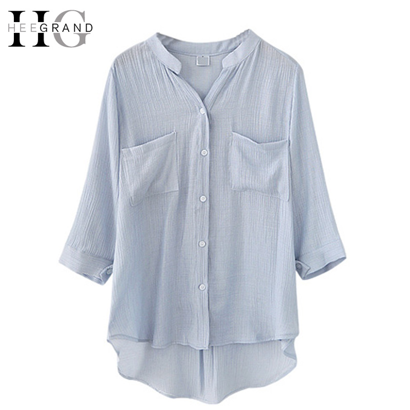 HEE GRAND 2017 Spring  New Fashion Women Blouses Stand Collar Solid Causal Three Quarter Sleeve Female Shirts Plus Size WCL1445