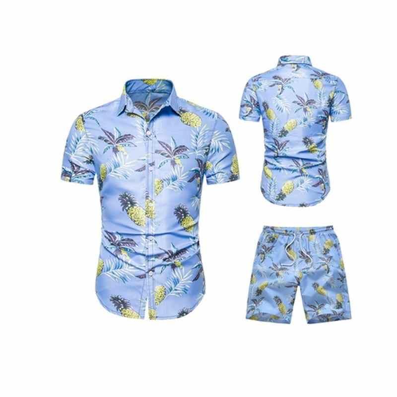 ae38f6784 2019 conjunto Casual de verano para hombre, ropa para hombre, camisa ...