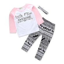 3pcs/Set kids girls sets clothes Headband+long Sleeve T shirt+pants Children's Clothing Set Girl Clothes Suits Geometric Floral(China)