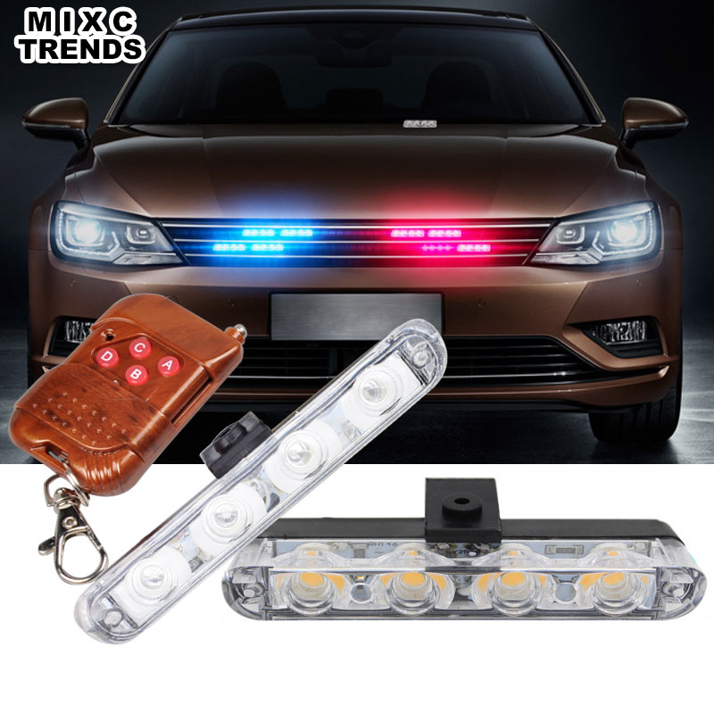 MIXC TRENDS Wireless Remote Car Emergency Ambulance Police Warning Strobe lights 2X4 LED Ultra thin light Bar with Clip for 12V luces led de policía