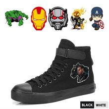 Marvel Movie Superhero Black Panther/Iron Man/Hulk/Ant-Man/Ghost Rider/Captain Vrouwen's Velcrohigh-top Comfort Sneakers A193291(China)