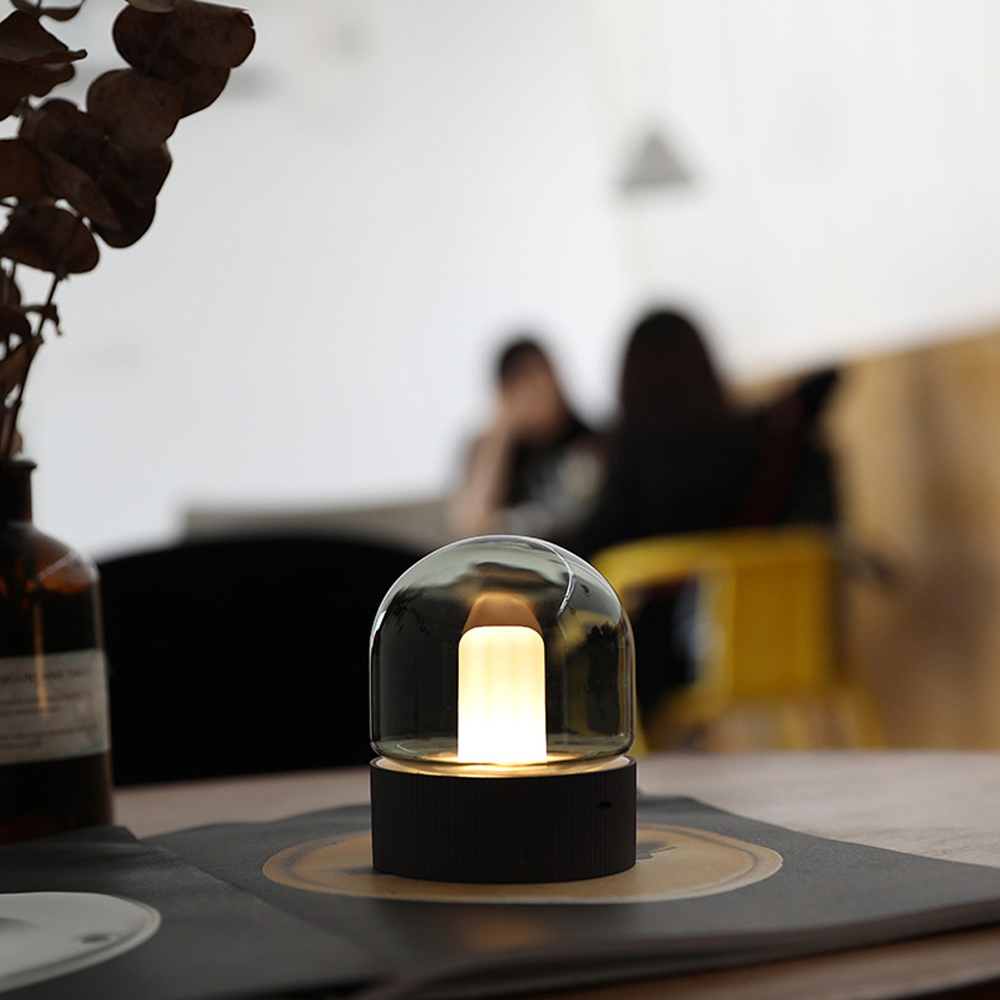 NEWKBO Glass Night Light Candle Shape Antique LED Night Light Dimmable USB Rechargeable Lamp Home Decoration For Bedroom