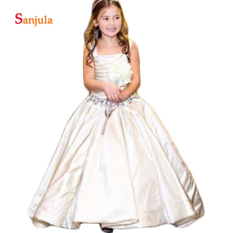 Ivory Satin Long   Flower     Girls     Dresses   Square Collar A-Line Simple Formal   Dress   for Little   Girls   vestidos de primera comunion D79