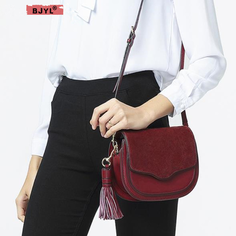 BJYL New Fashion Women Shoulder Bags Retro first layer cow leather saddle tassel Female Vintage Messenger Cover crossbody Bags 2017 new fashion cow genuine leather bag high quality shoulder crossbody bags for women messenger versatile tassel saddle bags