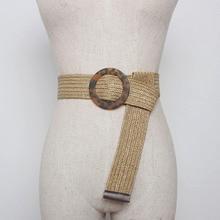 Vintage Round Buckle Straw Elastic Waist Belts For Women Dress Braided Ladies Adjustment Wide Black Female Woven BZ05