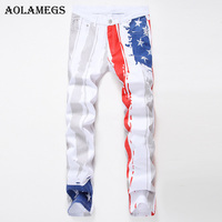 Aolamegsผู้ชายกางเกงยีนส์พิมพ์ธงอเมริกันแบบสีขาวรถจักรยานยนต์เต็มความยาวกางเกงฤดูร้อนS Pliceแสง...