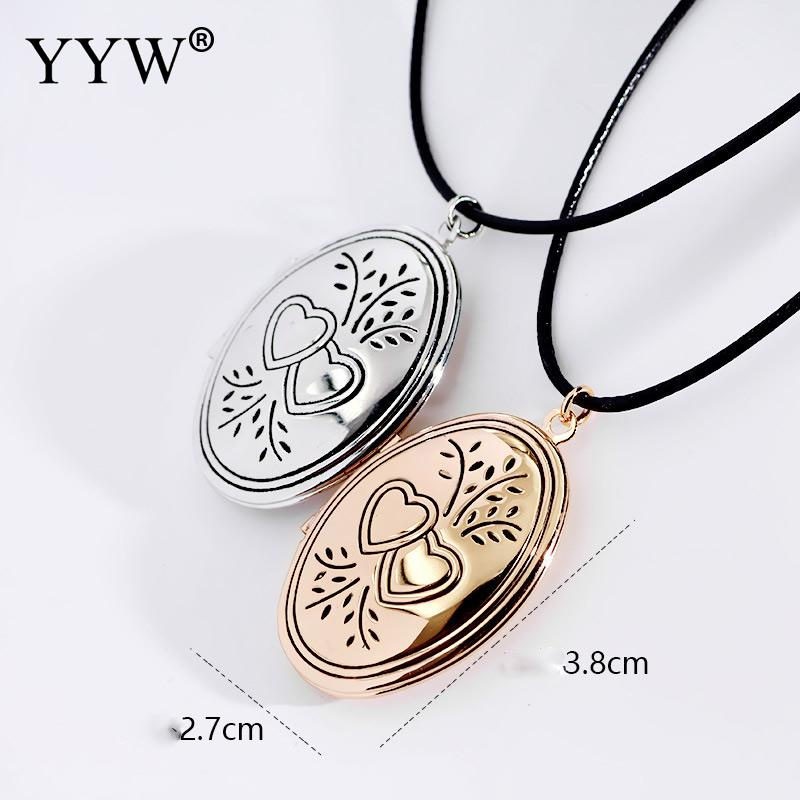 YYW Locket Necklace Brass with Waxed Nylon Cord Flat Oval plated with photo locket enamel 27x38mm Sold Per Approx 13 Inch Strand locket