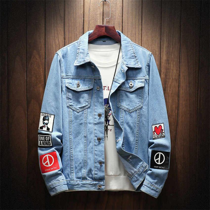 2019 fall winter Mens Denim Jackets Slim Fit Mens Jeans Jacket Cotton Outwear Coat Long Sleeve Print Male Clothing plue Size 5XL