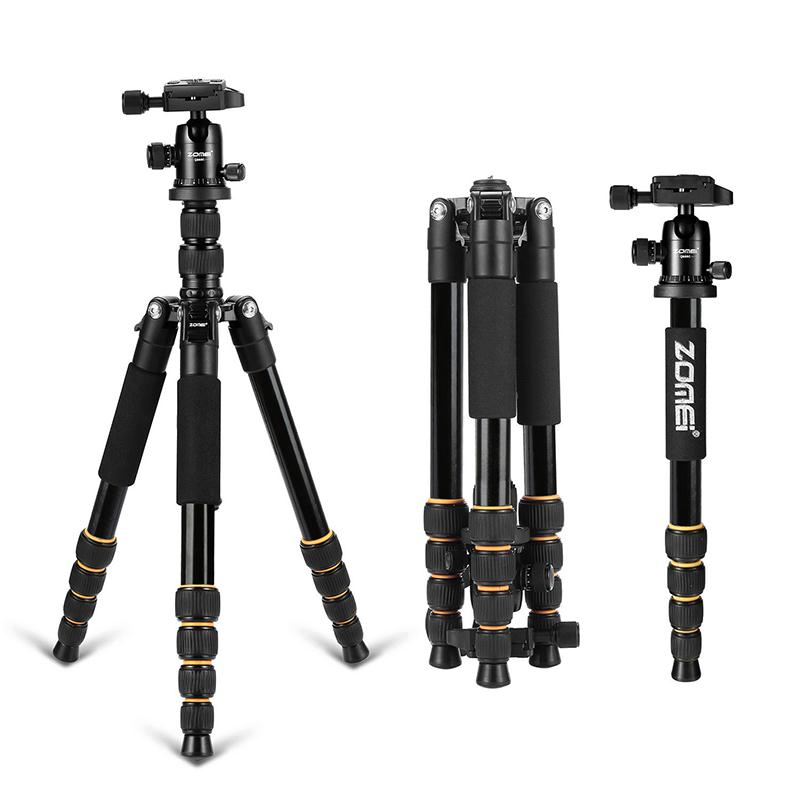 ZOMEI Q666 Portable Professional Travel Magnesium alloy Tripod Ball Head Monopod Compact For Canon DSLR SLR Camera Black zomei q666 professional tripod monopod with ball head compact travel tripods portable camera stand for slr dslr digital camera