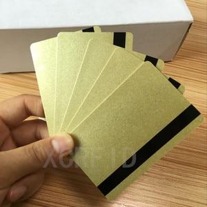 Image 1 - بطاقة ISO Hi Co 2750/3000/4000 Oe Hi co مغناطيسية (2 Track) بطاقات PVC ذكية معدنية ذهبية 200 قطعة