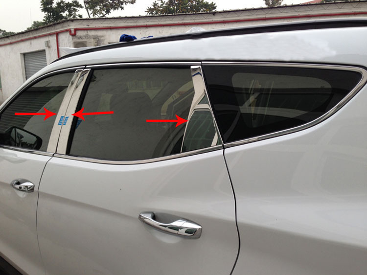 High quality stainless steel car window Decorative strip (a Set of 6pcs) fit for 2013 Hyundai Santa Fe ix45 Car styling free shipping 2011 2012 kia rio k2 4dr high quality stainless steel window trim strip down a set of 4pcs