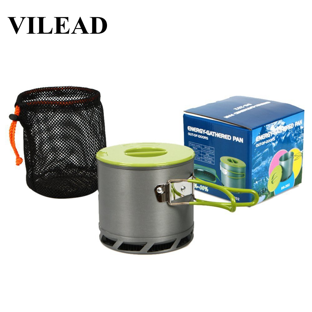 VILEAD Heat Exchanger Camping Pot 1.2L Non-stick Picnic Cooking Pots With Mesh Bag Outdoor Cookware Folding Portable Ultralight