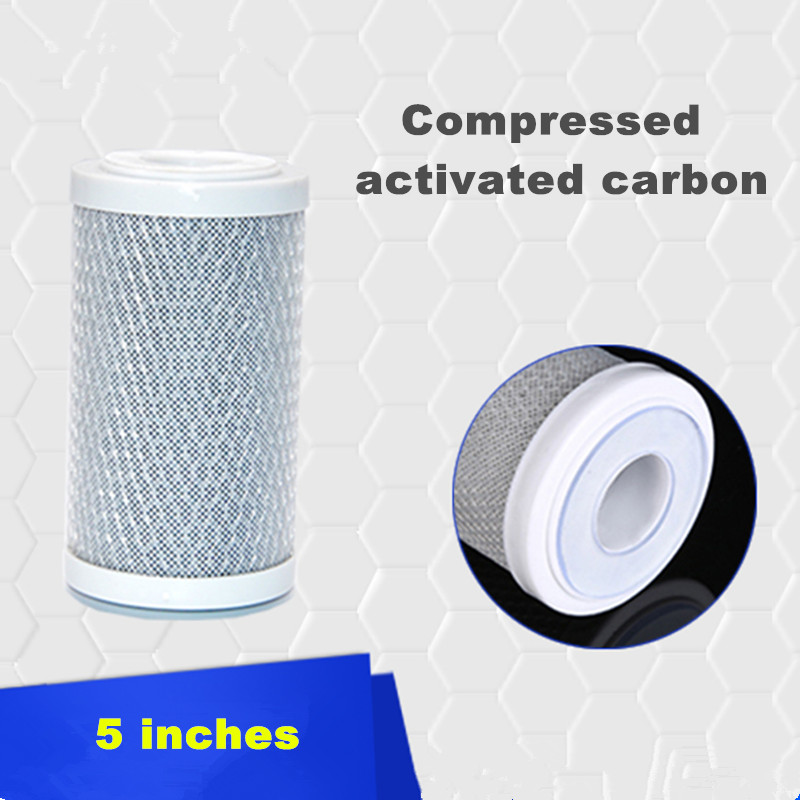 5 Inch CTO Compressed Activated Carbon Filter Cartridge For Household Water Filter Reverse Osmosis System household water filter tap connector adaptor push fit 3 4 inch bsp to 1 4 inch reverse osmosis ro white watering fitting pipe