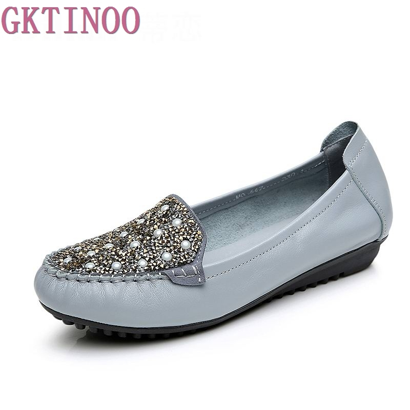 Women Shoes 2018 New Fashion Genuine Leather Flat Shoes Woman Loafers Crystal Soft Outsole Comfortable Casual Shoes Women Flats women flats new fashion women genuine leather flat shoes woman bow casual shoes comfortable soft outsole loafers women shoes
