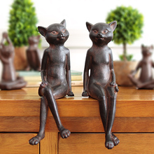 2pcs/lot rural retro old style rusty cat figure ornaments creative vintage home decorations