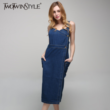 [TWOTWINSTYLE] 2017 Summer Plus Size XL Long Denim Dress of the Big Size Spaghetti Strap New Fashion Clothing