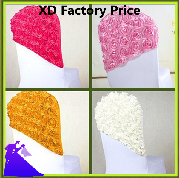 2017 HOT SALE !! 50PCS rose satin chair hood for Wedding Event chair sashes spandex lycra chair hood FREE SHIPPING