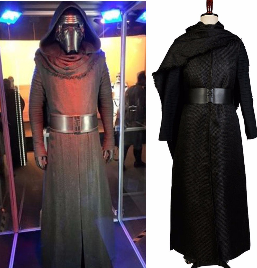 Star Wars 7:The Force Awakens Kylo Ren Cosplay Costumes Adult Uniform Black Cloak Coat Moive Jedi Halloween For Men Women