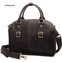 YUPINXUAN Europe Vintage Crazy Horse Leather Handbags For Men Cow Leather Shoulder Bags Retro 14 Laptop